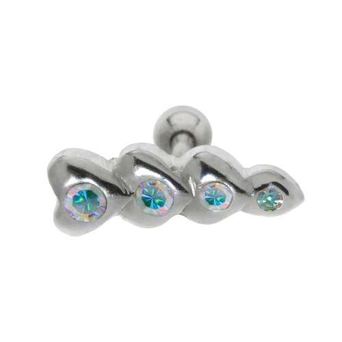 Ohrpiercing Chirurgenstahl 316L Messing mit Silberbeschichtung Kristall Herz Liebe