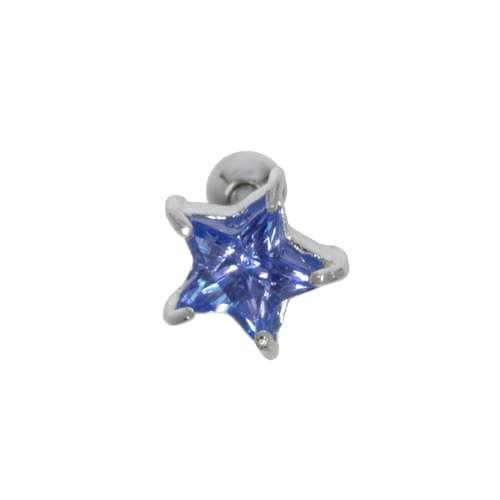 Ohrpiercing Chirurgenstahl 316L Messing mit Silberbeschichtung Zirkonia Stern