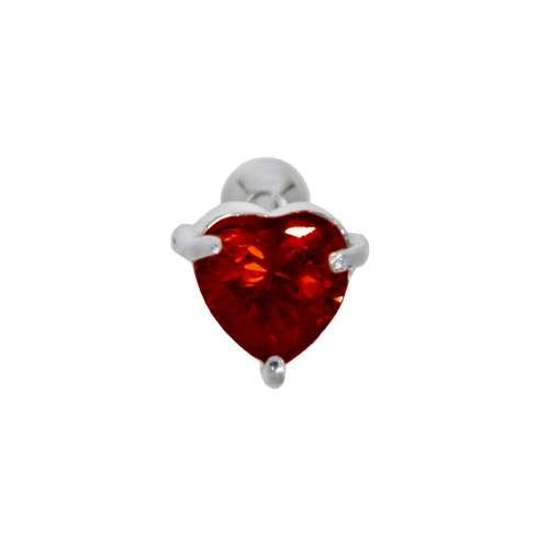 Piercing orecchio Metallo chirurgico 316L Ottone con rivestimento in argento Zircone Cuore Amore