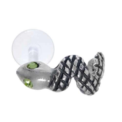 Piercing orecchio Argento 925 Cristallo Bioplast Serpente
