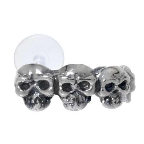 Ohrpiercing Silber 925 Bioplast Totenkopf Schädel Knochen