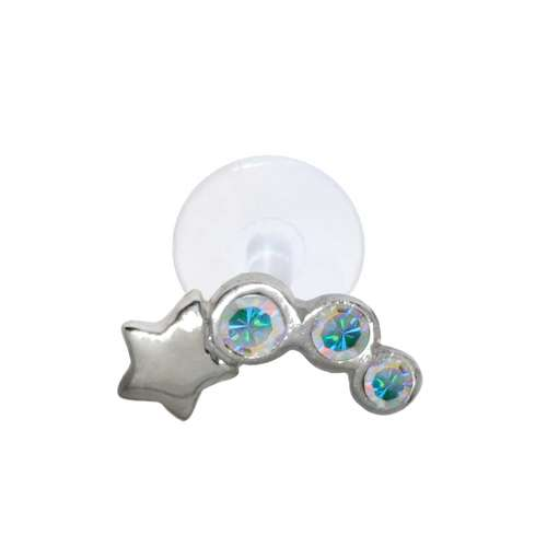Piercing orecchio Argento 925 Cristallo Bioplast Stella