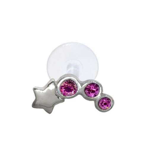 Ohrpiercing aus Silber 925 und Bioplast mit Kristall. Querschnitt :1,2mm. Stablänge:8mm. Breite:6,9mm. Gewicht:0,12g. Silber 925 Kristall Bioplast Stern