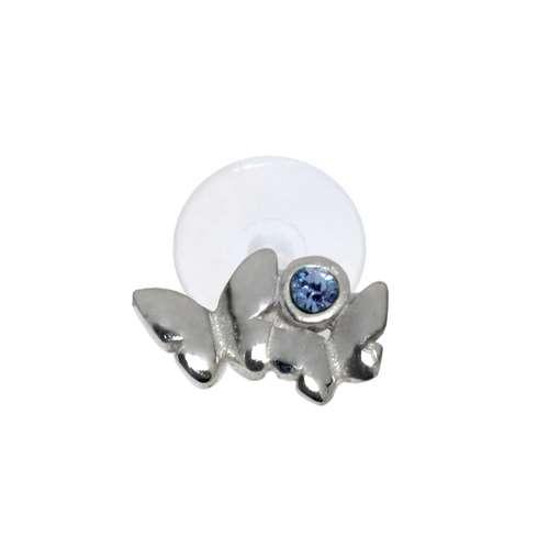 Ohrpiercing aus Silber 925 und Bioplast mit Kristall. Querschnitt :1,2mm. Stablänge:8mm. Breite:6,5mm. Gewicht:0,12g. Silber 925 Kristall Bioplast Schmetterling Sommervogel