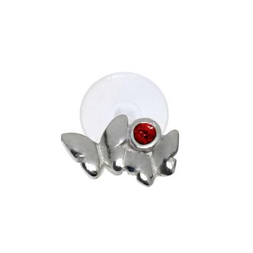 Piercing orecchio Argento 925 Cristallo Bioplast Farfalla