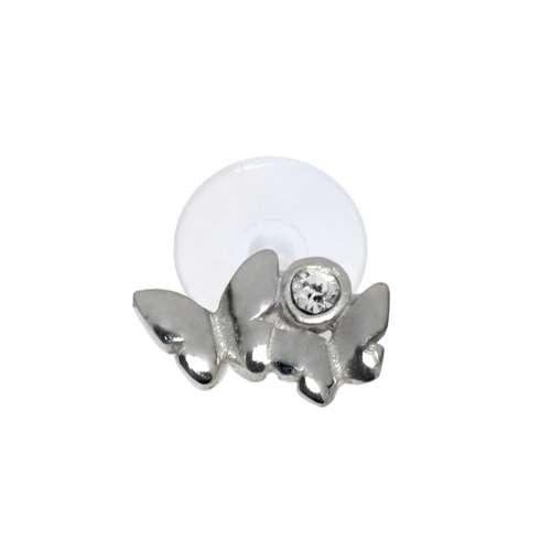 Ohrpiercing Silber 925 Kristall Bioplast Schmetterling Sommervogel