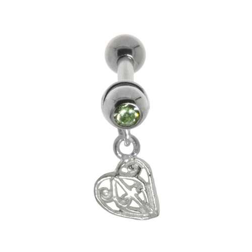 Ohrpiercing Chirurgenstahl 316L Messing mit Silberbeschichtung Kristall Kreuz Herz Liebe Blatt Pflanzenmuster Florales_Muster