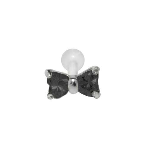 Ohrpiercing Silber 925 Zirkonia Bioplast Schleife Geschenkband Haarschlaufe