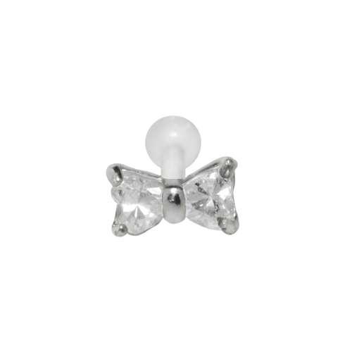 Piercing orecchio Argento 925 Zircone Bioplast Fiocco Fiocco_per_capelli