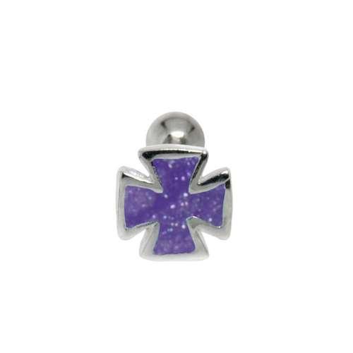 Ear piercing Surgical Steel 316L silver-plated brass Enamel Cross