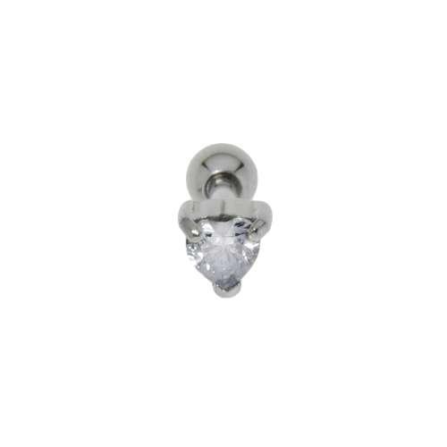 Piercing orecchio Metallo chirurgico 316L Zircone Cuore Amore