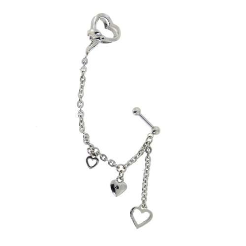 Piercing orecchio Metallo chirurgico 316L Cuore Amore