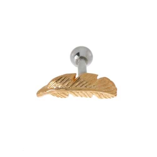 Piercing orecchio Metallo chirurgico 316L Dorato Penna Piuma