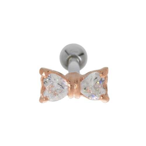Ohrpiercing Chirurgenstahl 316L Zirkonia Gold-Beschichtung (vergoldet) Schleife Geschenkband Haarschlaufe