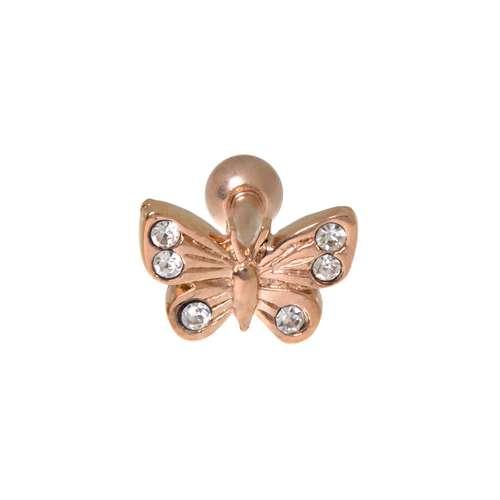 Piercing orecchio Metallo chirurgico 316L Zircone Rivestimento PVD (colore oro) Farfalla