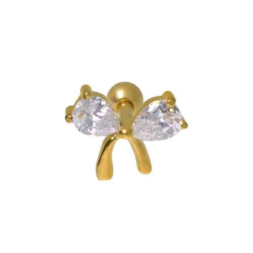 Ohrpiercing Chirurgenstahl 316L Zirkonia PVD Beschichtung (goldfarbig) Schleife Geschenkband Haarschlaufe