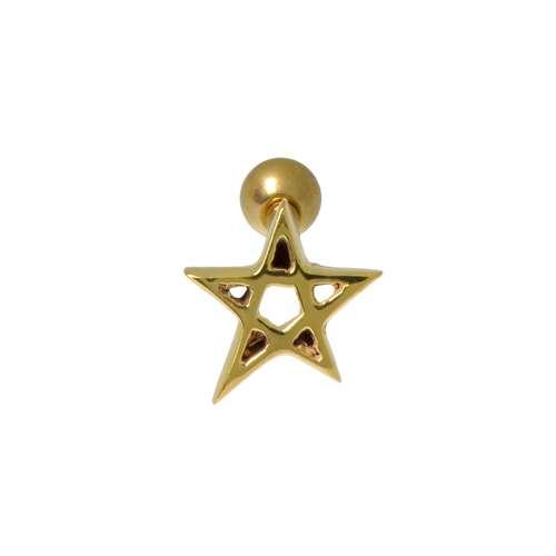 Piercing de oreja Acero quirúrgico Revestimiento PVD (color oro) Estrella