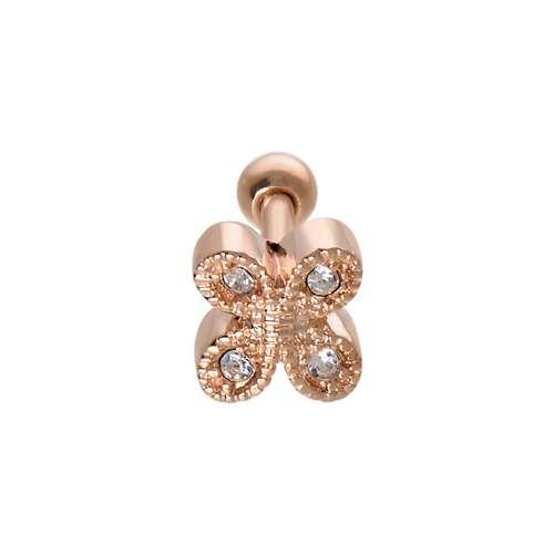 Piercing orecchio Metallo chirurgico 316L Cristallo Rivestimento PVD (colore oro) Farfalla
