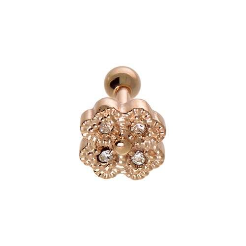 Piercing orecchio Metallo chirurgico 316L Cristallo Rivestimento PVD (colore oro) Foglia Disegno_floreale Fiore