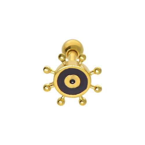Piercing orecchio Metallo chirurgico 316L Smalto Rivestimento PVD (colore oro)