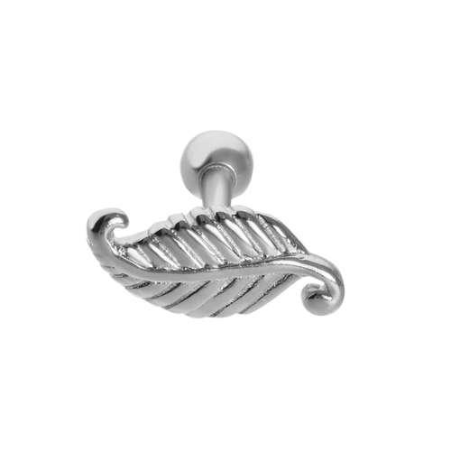 Piercing orecchio Ottone con rivestimento in argento Penna Piuma Foglia Disegno_floreale