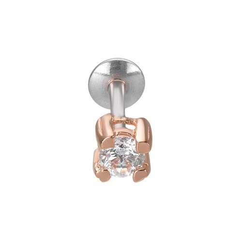 Ohrpiercing Silber 925 PVD Beschichtung (goldfarbig) Zirkonia