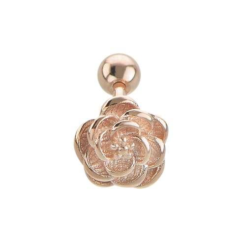 Piercing de oreja Acero quirúrgico Revestimiento PVD (color oro) Rosa