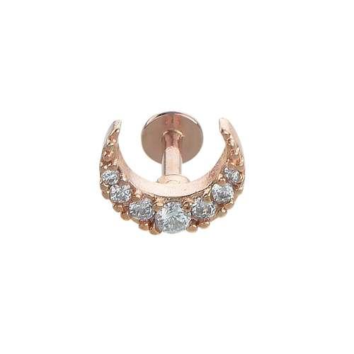 Ohrpiercing Chirurgenstahl 316L PVD Beschichtung (goldfarbig) Kristall Mond Halbmond