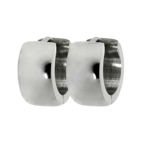 Breite Ohrringe aus Edelstahl. Durchmesser:14mm. Breite:7mm. Gewicht:5,8g. Abgerundet. Glänzend. Edelstahl