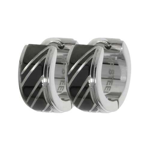 Ohrringe Edelstahl PVD Beschichtung (schwarz) Streifen Rillen Linien