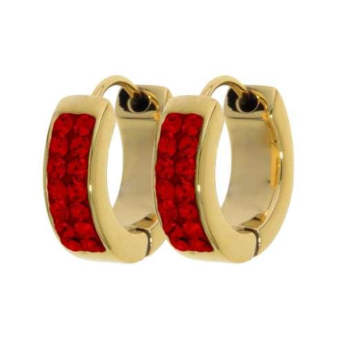 Breite Ohrringe Edelstahl Gold-Beschichtung (vergoldet) Swarovski Kristall
