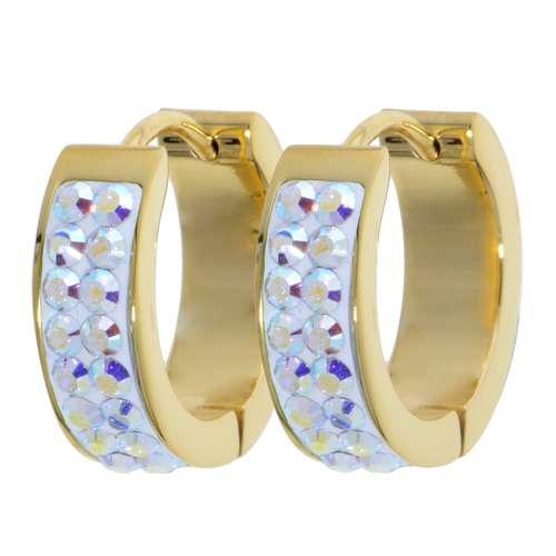 Breite Ohrringe Edelstahl Gold-Beschichtung (vergoldet) Swarovski Kristall Epoxiharz