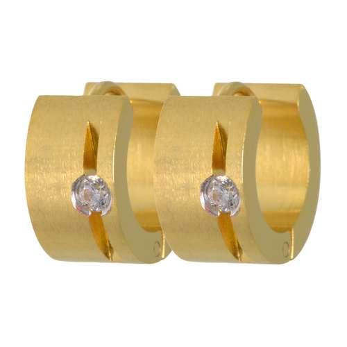 Brede oorbellen Staal Zirkonia PVD laag (goudkleurig) streep lijn ribbels
