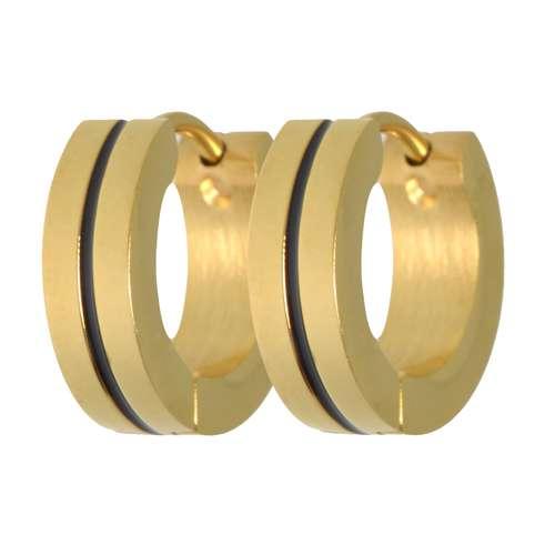 Orecchini a cerchio larghi Acciaio inox Rivestimento PVD (colore oro) Striatura Banda Incavo