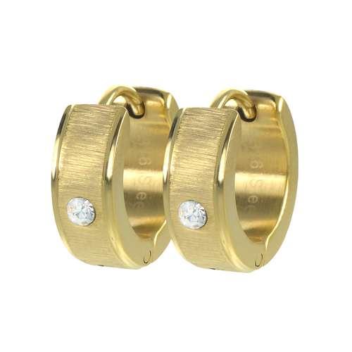 Orecchini a cerchio larghi Acciaio inox Cristallo Rivestimento PVD (colore oro)