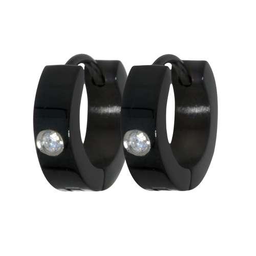 Ohrringe Edelstahl PVD Beschichtung (schwarz) Zirkonia