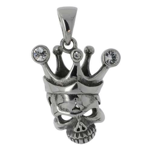 Edelstahl-Anhänger Edelstahl Kristall Totenkopf Schädel Knochen Krone