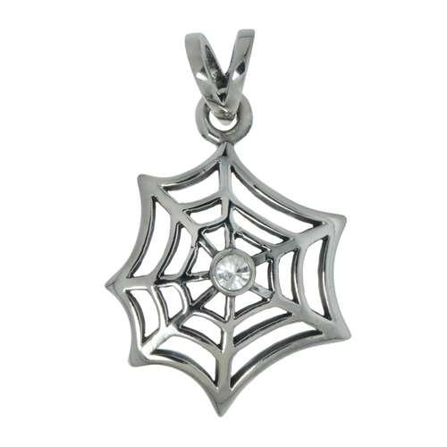 Edelstahl-Anhänger Edelstahl Kristall Spinne Spinnennetz
