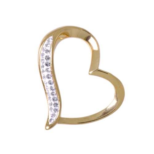 Edelstahl-Anhänger Edelstahl Gold-Beschichtung (vergoldet) Kristall Herz Liebe