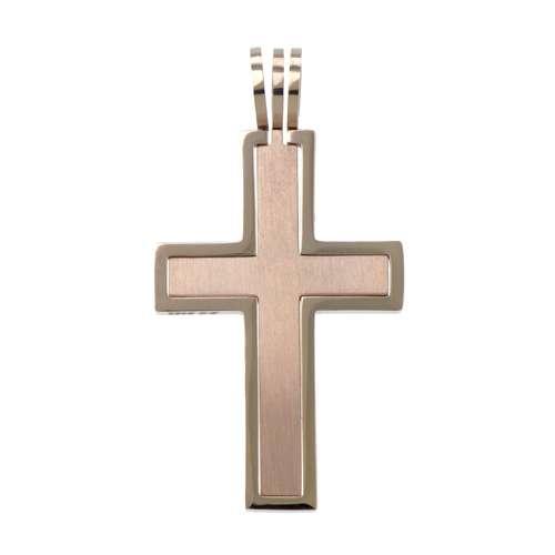 Edelstahl-Anhänger Edelstahl PVD Beschichtung (goldfarbig) Kreuz
