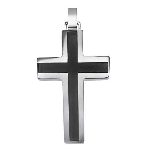 Edelstahl-Anhänger Edelstahl PVD Beschichtung (schwarz) Kreuz