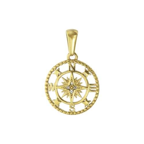 Edelstahl-Anhänger Edelstahl PVD Beschichtung (goldfarbig) Kristall Anker Seil Schiff
