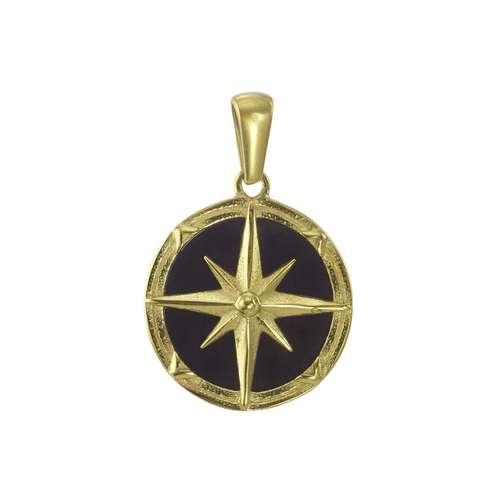 Edelstahl-Anhänger Edelstahl Epoxiharz PVD Beschichtung (goldfarbig) Anker Seil Schiff