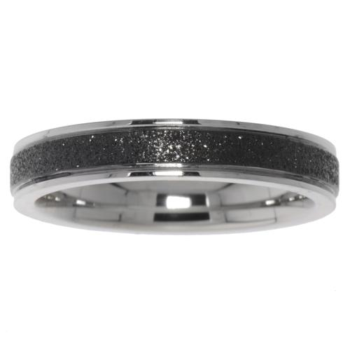 Stainless steel ring Stainless Steel Black PVD-coating Stripes Grooves Rills