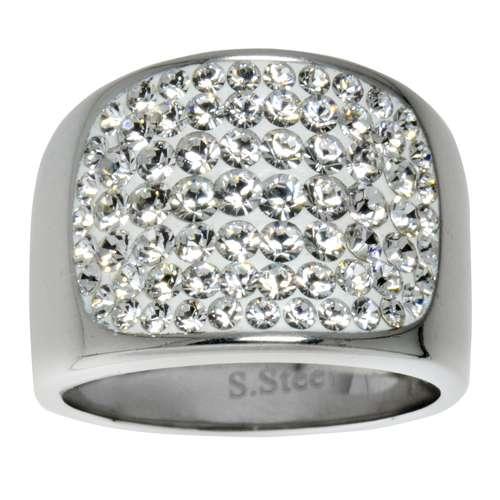 Edelstahlring Edelstahl Swarovski Kristall