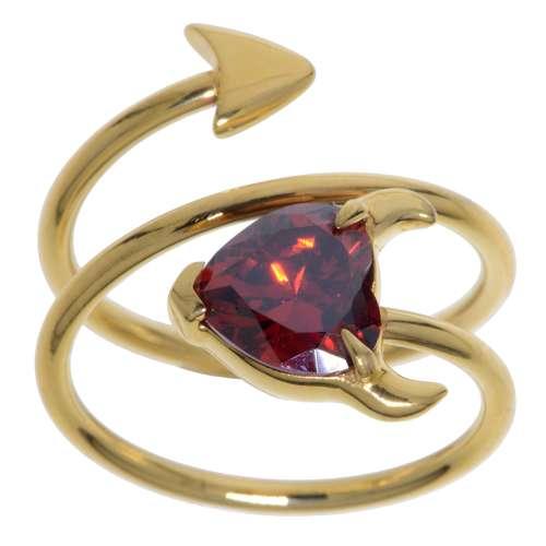 Edelstahlring Edelstahl PVD Beschichtung (goldfarbig) Kristall Teufelsherz Herz_mit_Hörnern Spirale