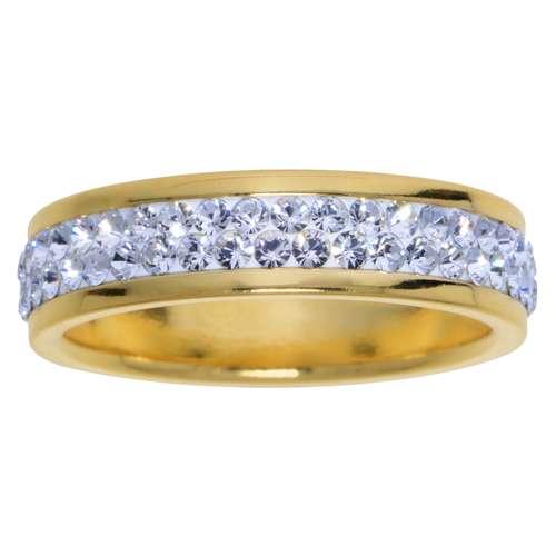 Anillo Acero fino Revestimiento PVD (color oro) cristales de Swarovski