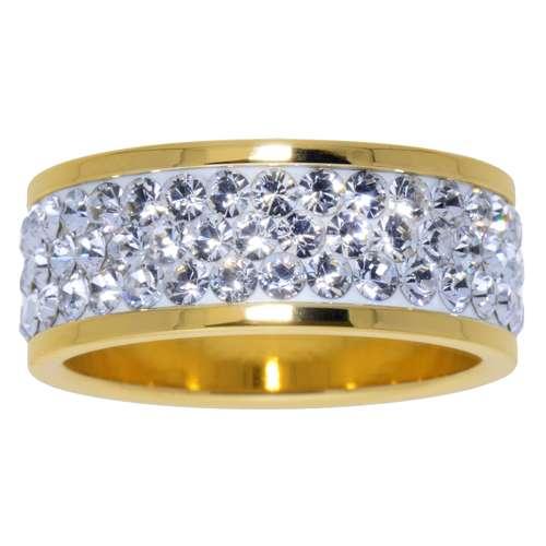Edelstahlring Edelstahl PVD Beschichtung (goldfarbig) Swarovski Kristall Streifen Rillen Linien