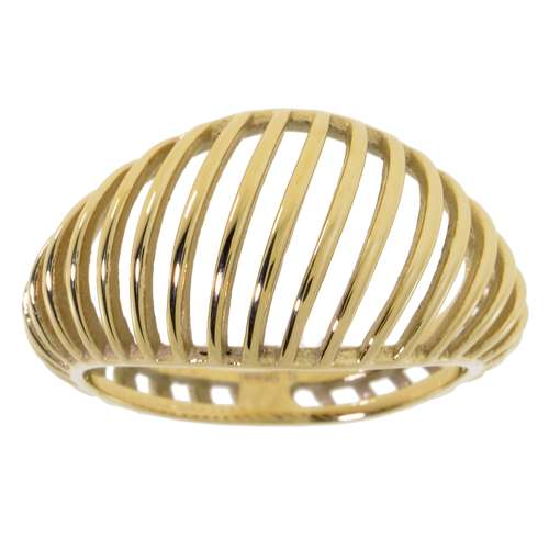 Fingerring Edelstahl Gold-Beschichtung (vergoldet) Streifen Rillen Linien