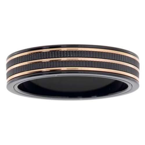 Edelstahlring Edelstahl PVD Beschichtung (schwarz) Gold-Beschichtung (vergoldet) Streifen Rillen Linien